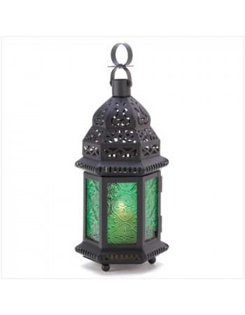 Green Glass Moroccan Candle Lantern Mythic Decor  Dragon Statues, Angels, Myths & Legend Statues & Home Decor