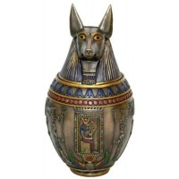 Jackel Headed Large Bronze Canopic Jar