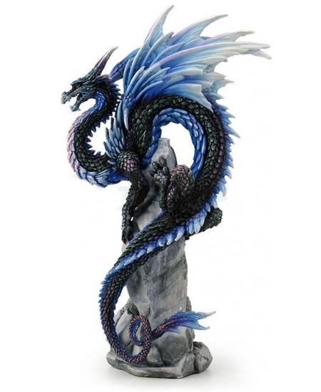 Sapphire Sentinel Dragon Statue at Mythic Decor,  Dragon Statues, Angels, Myths & Legend Statues & Home Decor