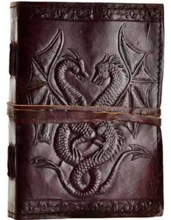 Double Dragon Leather Journal Mythic Decor  Dragon Statues, Angels, Myths & Legend Statues & Home Decor