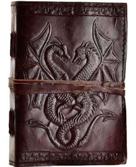 Double Dragon Leather Journal at Mythic Decor,  Dragon Statues, Angels & Demons, Myths & Legends |Statues & Home Decor