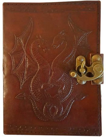 Double Dragon Leather Journal with Latch Mythic Decor  Dragon Statues, Angels & Demons, Myths & Legends |Statues & Home Decor