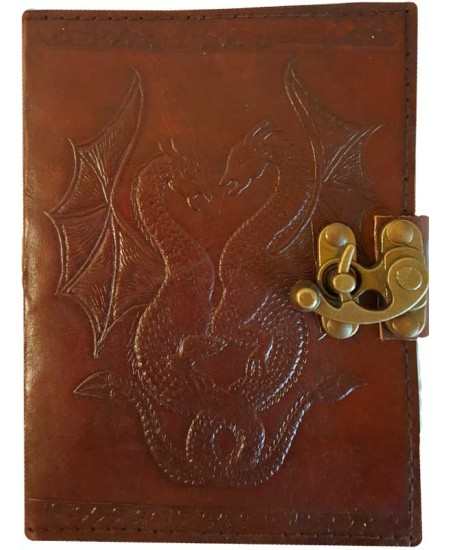 Double Dragon Leather Journal with Latch at Mythic Decor,  Dragon Statues, Angels, Myths & Legend Statues & Home Decor
