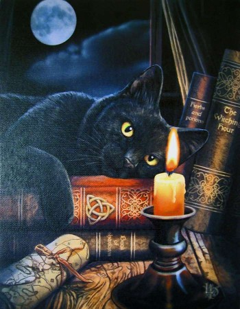Witching Hour Black Cat Canvas Print by Lisa Parker Mythic Decor  Dragon Statues, Angels & Demons, Myths & Legends |Statues & Home Decor