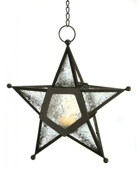 Star Hanging Lantern - Clear at Mythic Decor,  Dragon Statues, Angels, Myths & Legend Statues & Home Decor