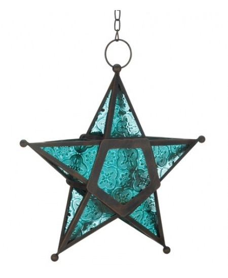 Star Hanging Lantern - Blue at Mythic Decor,  Dragon Statues, Angels, Myths & Legend Statues & Home Decor